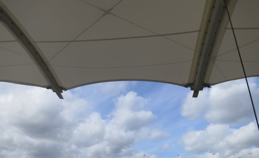 Close up of tensile fabric canopy