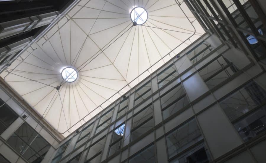 Tensile fabric roof