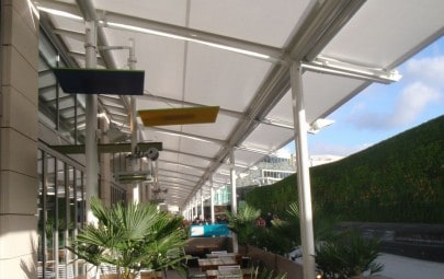 tensile fabric covered dining area