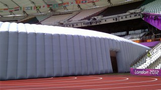Inflated fabric tunnel for Olympics