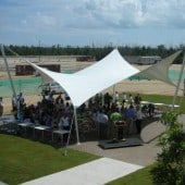 solar shading with tensile fabric canopy for awards presentation