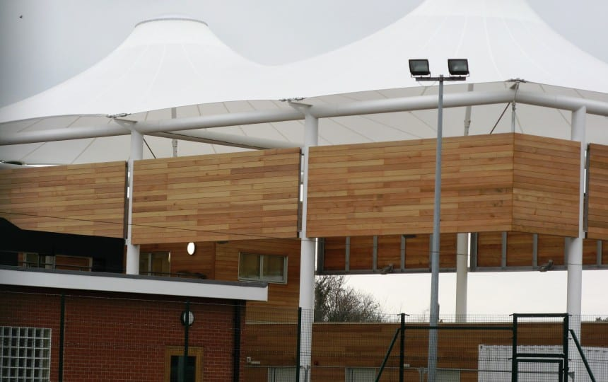 Silicone coated glass double conic canopy