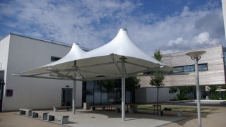 double conic shade structure for picnics