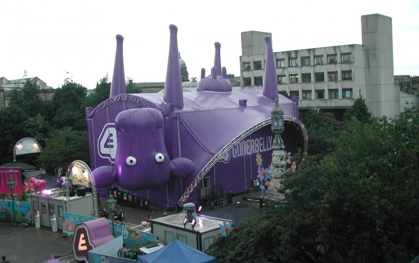 Inflatable fabric stage structure