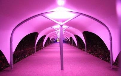 PVC polyester walkway canopy with lighting
