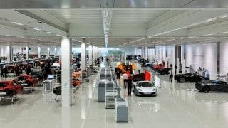 Mclaren factory fabric ceiling installation