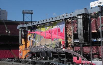 Printed fabric rock concert backdrop