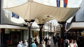 PVC Polyester Fabric canopy for shopping court as a series of inverted conics