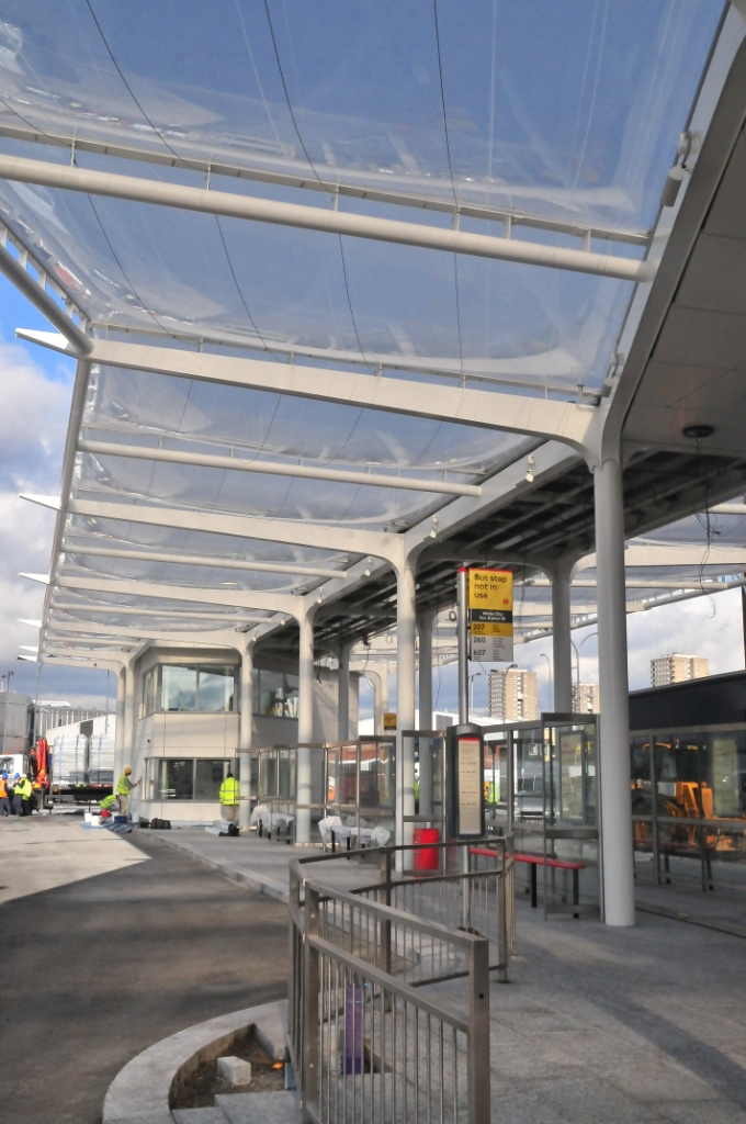 ETFE cushion system forming a bus station