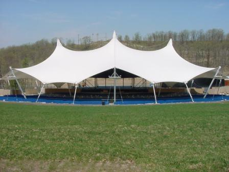 Traditional tensile fabric structure