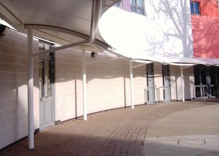 tensile fabric walkway canopy