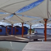 PTFE fabric canopies at Piarco Airport