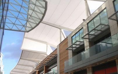 Tenara fabric walkway canopy