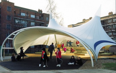Tensile fabric canopy for a school