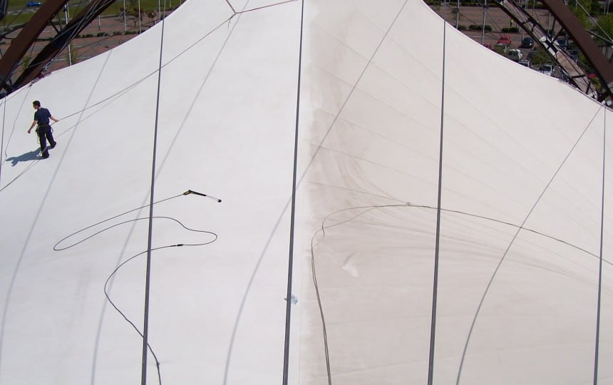 the difference between clean and weathered tensile fabric structures