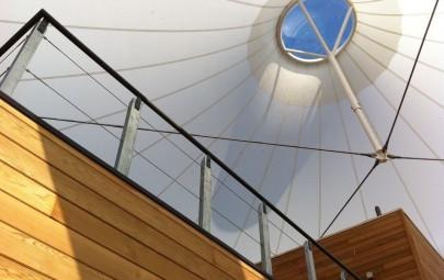 Underneath a fabric canopy
