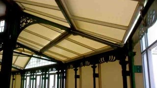 Harrowgate type 2 PVC with aluminium framework over listed cast Iron structure restoration project