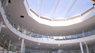 Circular ETFE cushions over atrium for offices
