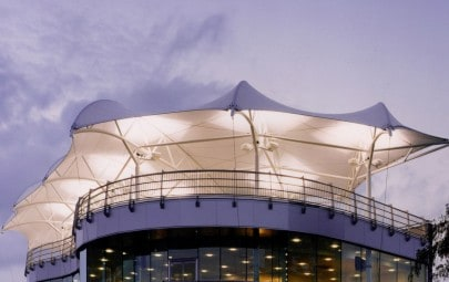 Iconic tensile fabric grandstand canopy