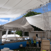 Retractable fabric canopy for a festival
